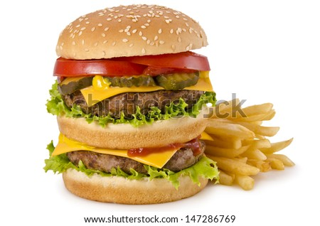 Double cheeseburger and french fries on a white background - stock photo