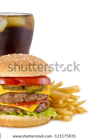 Double cheeseburger, french fries and cola on a white background - stock photo