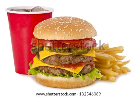 Double cheeseburger, french fries and cola on a white background. Front view. - stock photo