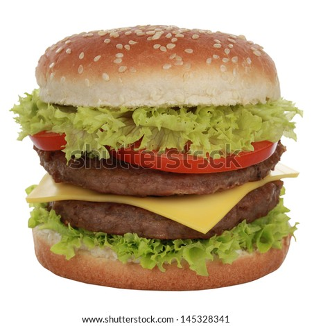 Double Cheeseburger with beef, tomatoes, lettuce and cheese, isolated on white