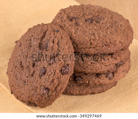 double chocolate chip cookies - stock photo