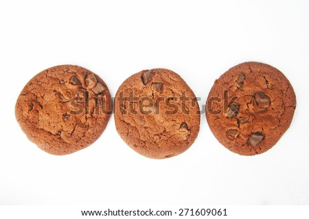 Double Chocolate chips cookies on white background - stock photo