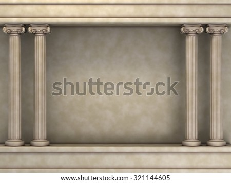 Double Classic Pillars Arc. 3d rendering - stock photo