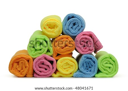 Double color towels curtailed into a roll. A photo close up