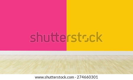 double color wall with wooden flooring and no furniture - stock photo