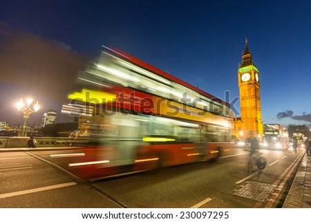 Double-Decker and Big Ben at Night