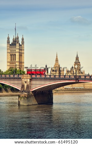 Double Decker and Houses of Parliament, London, UK. - stock photo