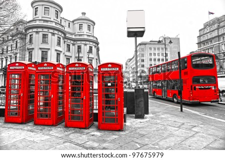 Double-decker bus and Red telephone boxes with black and white background, London, UK. - stock photo