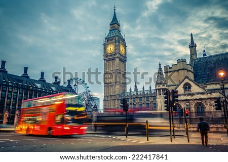 Double-decker bus in night London - stock photo
