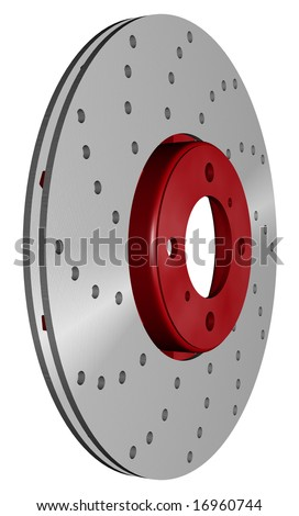 double disc brake rotor separated on white