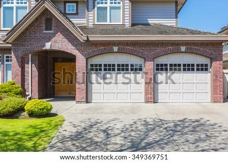 Double door garage door. - stock photo