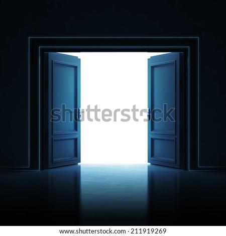 double door opened in dark to light room 3D illustration - stock photo
