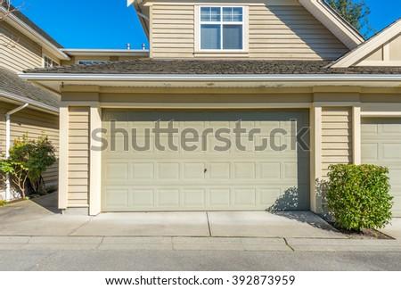 Double doors garage. - stock photo