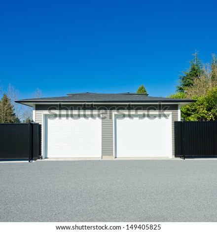 Double doors garage. North America. Canada. - stock photo