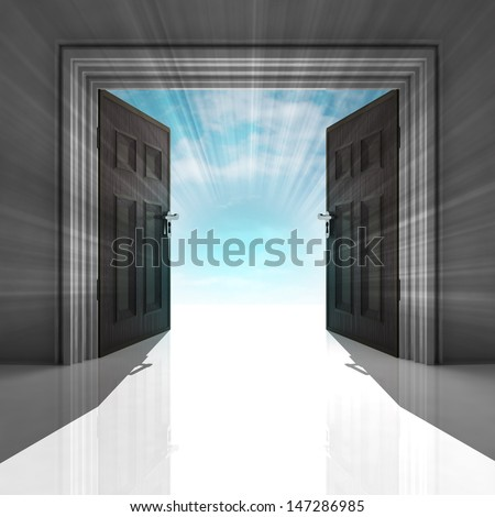double doorway with blue sky and flare illustration - stock photo