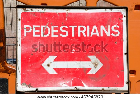 Double ended arrow pedestrian road works sign, Birmingham, England, UK, Western Europe. - stock photo