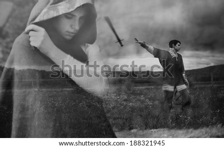 "double exposition of  short haired girl  - thoughtful and  throwing out the sword  (art photo project ""Joan of Arc"") - stock photo"