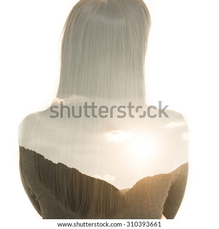 double exposure, a woman with long hair and mountain landscape with bright sun Isolated on white background. - stock photo