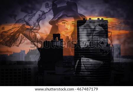 double exposure and de-focused , portrait of Asian woman on black dress and holding plastic pumpkin doll in midnight town-scape background ,  Halloween concept