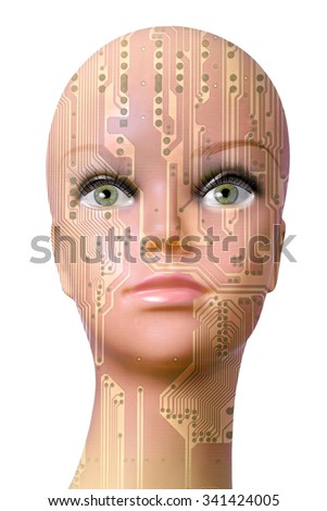 Double exposure artificial Intelligence concept, mannequin head with circuit board pattern