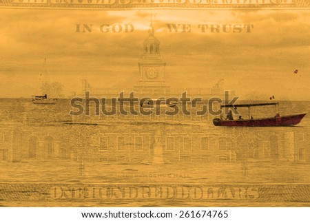 Double exposure boats on ocean water with hundred dollar background - Finance and expense concept - stock photo