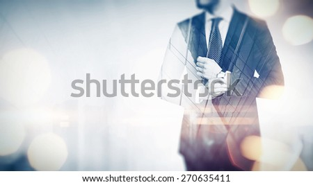 Double exposure business concept. With special lighting effects - stock photo