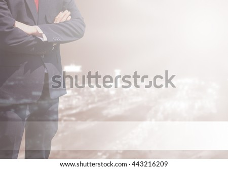 Double exposure Business man success or soft Business man success in his working or learning with global on over blurred top city view with light flare from corner and white line for advertise.sepia - stock photo