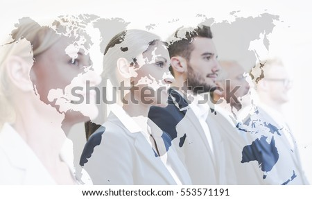 Double exposure, business team with world map, global business concept