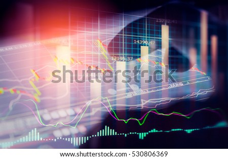 Double exposure businessman and stock market graph for business concept about financial investment.