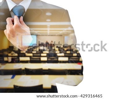 Double exposure businessman rearranging  his neck tie and conference meeting room. Preparing to speak on the stage as a lecturer. Wining his fear and shyness before time. - stock photo