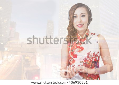 Double exposure businesswoman are checking stock market graph of oil refinery or energy by using lablet and mobile phone. - stock photo