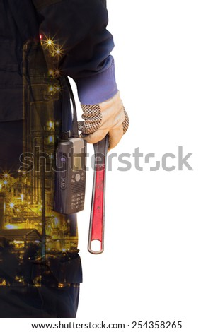 double exposure Close-up image of human hand holding wrench - stock photo