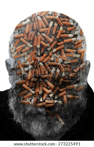 Double exposure. Collage of the man with a beard and cigarette stubs. Toning - stock photo