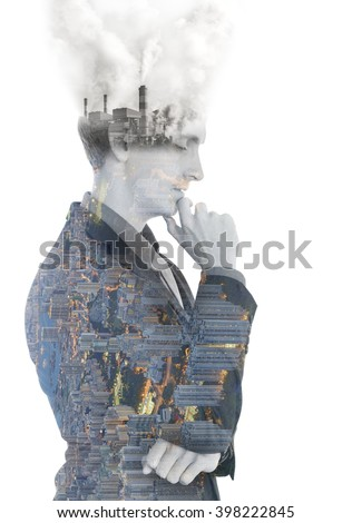 Double exposure concept with businessman think plan about beautiful town and industrial pollution. - stock photo