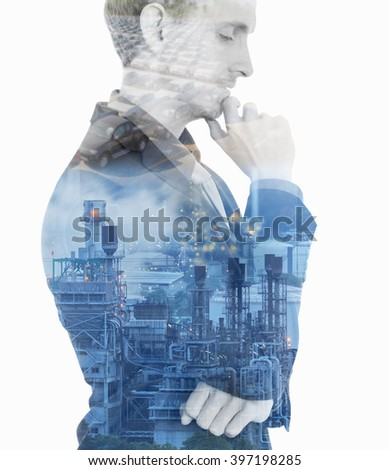 Double exposure concept with businessman think plan about oil power plant and car in future. - stock photo