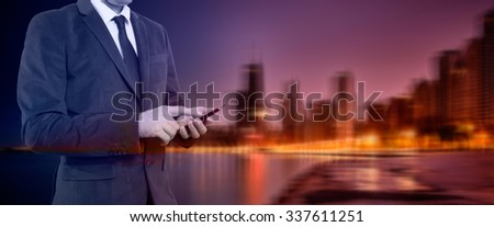 Double exposure concept with thinking businessman with phone