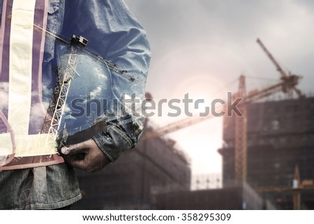 Double exposure concept with worker