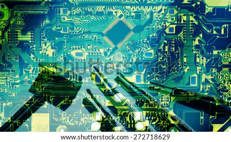 Double exposure electronic circuit and tools repair for background - stock photo
