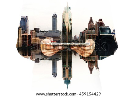 Double Exposure Hand of Businessman and City Building as Digital Business Technology Concept