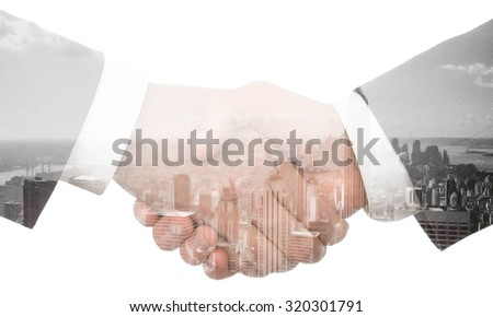 Double exposure handshake on a city background, business idea concept - stock photo