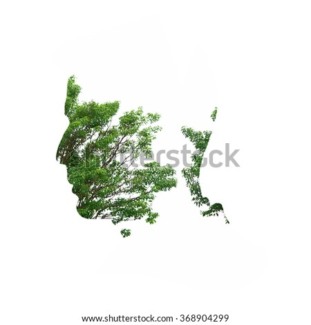 Double exposure illustration, man silhouette with tree.