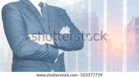 double exposure investment real estate business background - stock photo