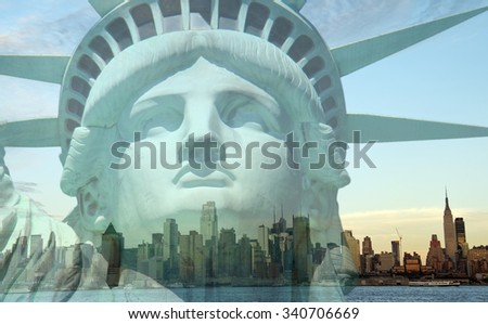 double exposure new york city cityscape skyline with statue of  liberty