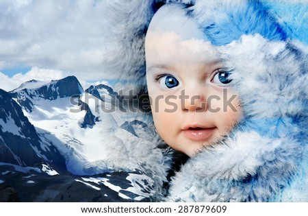Double exposure of a beautiful baby girl wearing fur coat and Canada's snow covered Rocky mountains.  - stock photo