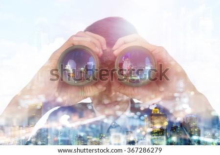 Double exposure of a businessman with binoculars. Search concept. - stock photo