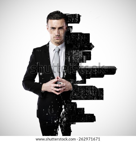 Double exposure of a city and professional businessman standing on a gray background - stock photo
