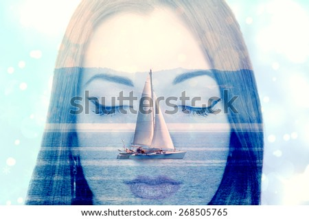 Double exposure of a young woman dreaming about sailing on the sea  - stock photo
