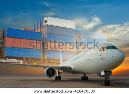 double exposure of air cargo freighter and cargo ship - stock photo