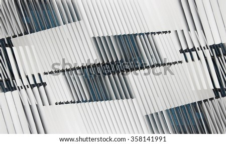 Double exposure of ajar jalousie / blinds on windows. Abstract technology image  with louvers / latticed structure. Contemporary interior / architecture motif.