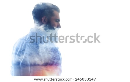 Double exposure of bearded guy and cloudy sky - stock photo